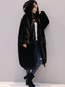 Black Fur Pockets Zipper Hooded Long Sleeve Casual Coat