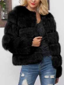 Black Fuzzy Faux Fur Round Neck Long Sleeve Fashion Bubble Coat