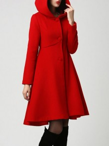 Red Pockets Single Breasted Hooded Long Sleeve Elegant Wool Coat