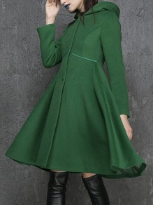 Green Pockets Single Breasted Long Sleeve Going out Christmas Party A-line Hooded Coat