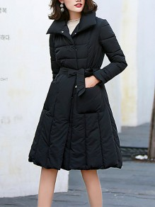 Black Belt Pockets Double Breasted Turndown Collar Fashion Outerwear