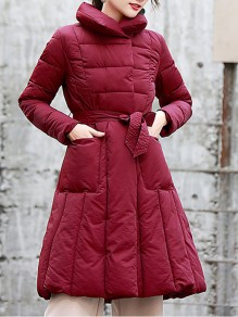 Wine Red Belt Pockets Double Breasted Turndown Collar Fashion Outerwear