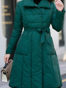 Dark Green Belt Pockets Double Breasted Turndown Collar Fashion Outerwear