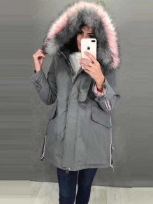 Grey Patchwork Fur Zipper Pockets Drawstring Button Hooded Long Sleeve Casual Coat