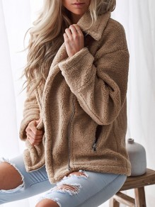 Khaki Pockets Zipper Turndown Collar Long Sleeve Teddy Coat