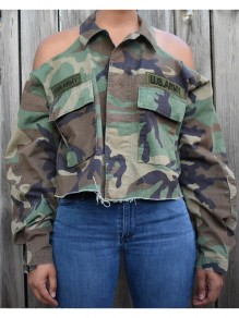 Army Green Camouflage US Army Pattern Pockets Cut Out Casual Coat