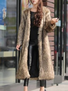 Coffee Faux Fur Pockets Turndown Collar Fashion Outerwear