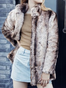 Khaki Striped Print Band Collar Long Sleeve Fashion Faux Fur Coat