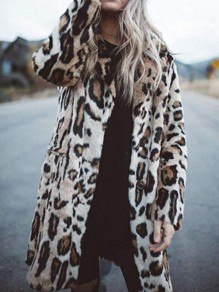 Beige Leopard Umlegekragen Langarm Winter Warmer Oversize Fake Fur Pelzmantel Fellmantel Mode Damen