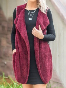 Wine Red Faux Fur Floral Pockets Sleeveless Casual Coat