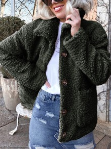 Green Buttons Pockets Turndown Collar Long Sleeve Streetwear Outerwear