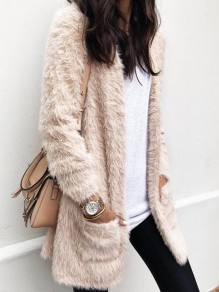 Beige Pockets Fuzzy Long Sleeve Casual Cardigan Coat