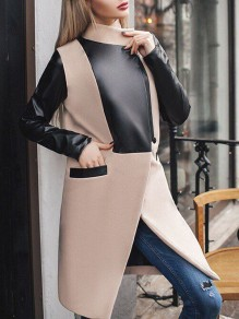 Khaki Patchwork PU Leather Pockets Long Sleeve Going out Coat