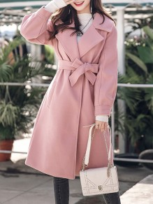 Pink Belt Pockets Turndown Collar Lantern Sleeve Fashion Outerwear