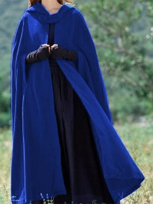 Sapphire Blue Patchwork Cut Out Hooded Sleeveless Casual Cloak Outerwear