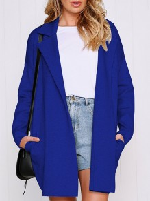 Blue Patchwork Pockets Turndown Collar Casual Outerwear
