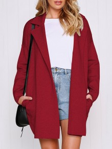 Wine Red Patchwork Pockets Turndown Collar Casual Outerwear