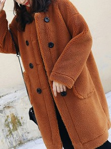 Brown Fur Pockets Double Breasted Band Collar Long Sleeve Casual Coat