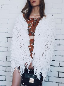 White Tassel V-neck Long Sleeve Fashion Faux Fur Coat