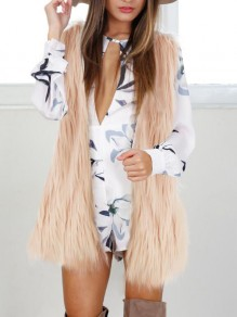 Light Pink Faux Fur Plus Size Sleeveless Elegant Vest Cardigan Coat