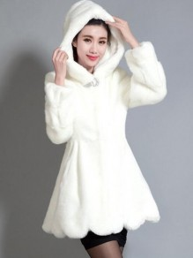 White Fur Pockets Buttons Rhinestone Peplum Hooded Long Sleeve Elegant Coat