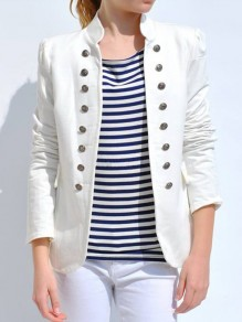 White Pockets Double Breasted Band Collar Long Sleeve Elegant Coat