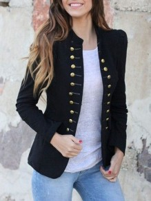 Black Pockets Double Breasted Band Collar Long Sleeve Elegant Coat