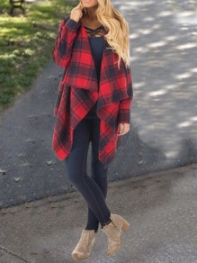 Red-Black Plaid Irregular Buffalo Flannel Turndown Collar Long Sleeve Christmas Casual Cardigan Wool Coat