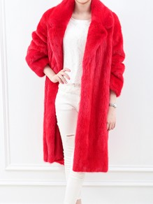 Red Turndown Collar Long Sleeve Fashion Faux Fur Coat