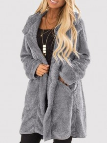 Graue Taschen Umlegekragen Langarm Oversize Warmer Winter Teddy Fleece Mantel Günstig Damen Mode