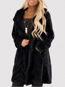 Schwarz Taschen Umlegekragen Langarm Oversize Warmer Winter Teddy Fleece Mantel Günstig Damen Mode