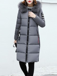 Grey Patchwork Monogram Fur Pockets Zipper Hooded Long Sleeve Casual Coat