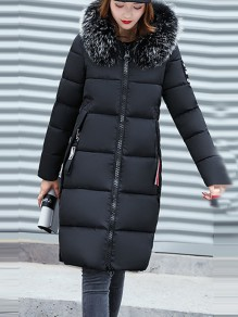 Black Patchwork Monogram Fur Pockets Zipper Hooded Long Sleeve Casual Coat