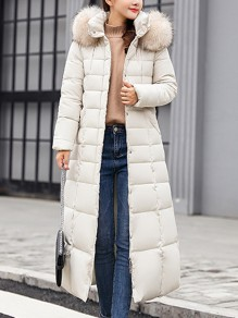White Fur Pockets Sashes Single Breasted Zipper Hooded Long Sleeve Elegant Coat