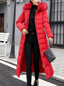 Red Fur Pockets Sashes Single Breasted Zipper Hooded Long Sleeve Elegant Coat