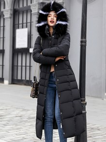 Black Fur Pockets Sashes Single Breasted Zipper Hooded Long Sleeve Elegant Coat