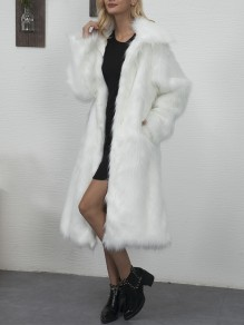 White Faux Fur Pockets Turndown Collar Fashion Outerwear