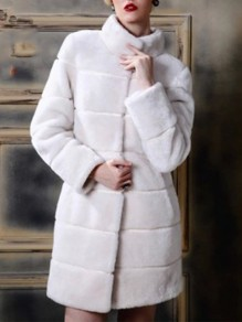 White Faux Fur Pockets Band Collar Fashion Outerwear