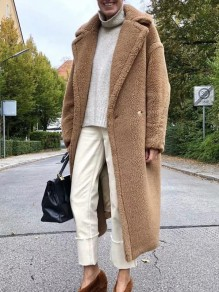 Khaki Pockets Turndown Collar Long Sleeve Fashion Teddy Coat