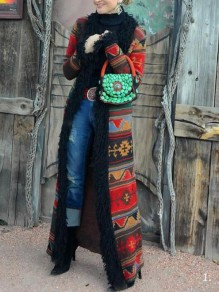 Red Tribal Floral Patchwork Faux Fur Long Sleeve Vintage Cardigan Long Coat