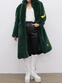 Dark Green Letter Print Turndown Collar Long Sleeve Going out Faux Fur Coat