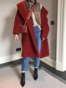 Red Fur Pockets Buttons Turndown Collar Long Sleeve Christmas Casual Wool Coat