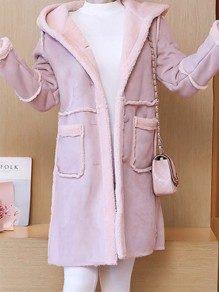 Pink Pockets Single Breasted Hooded Long Sleeve Casual Coat
