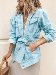 Light Blue Belt Buttons Pockets Turndown Collar Fashion Jean Outerwear