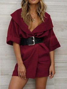Burgundy Pockets Turndown Collar 3/4 Sleeve Going out Wool Coat