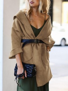 Khaki Pockets Turndown Collar 3/4 Sleeve Going out Wool Coat