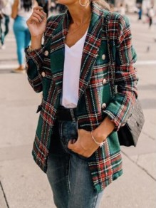 Green-Red Plaid Pockets Double Breasted Turndown Collar Casual Cardigan Wool Coat