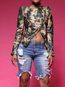 Camouflage Zipper Irregular PU Leather Long Sleeve Fashion Streetwear Coat Outerwears