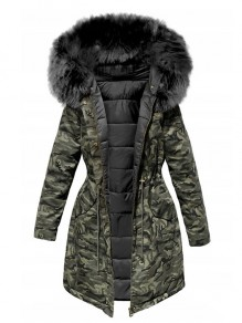 Black Green Camouflage Pockets Drawstring Zipper Fur Hooded Padded Coat