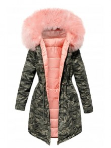 Pink Green Camouflage Pockets Drawstring Zipper Fur Hooded Padded Coat